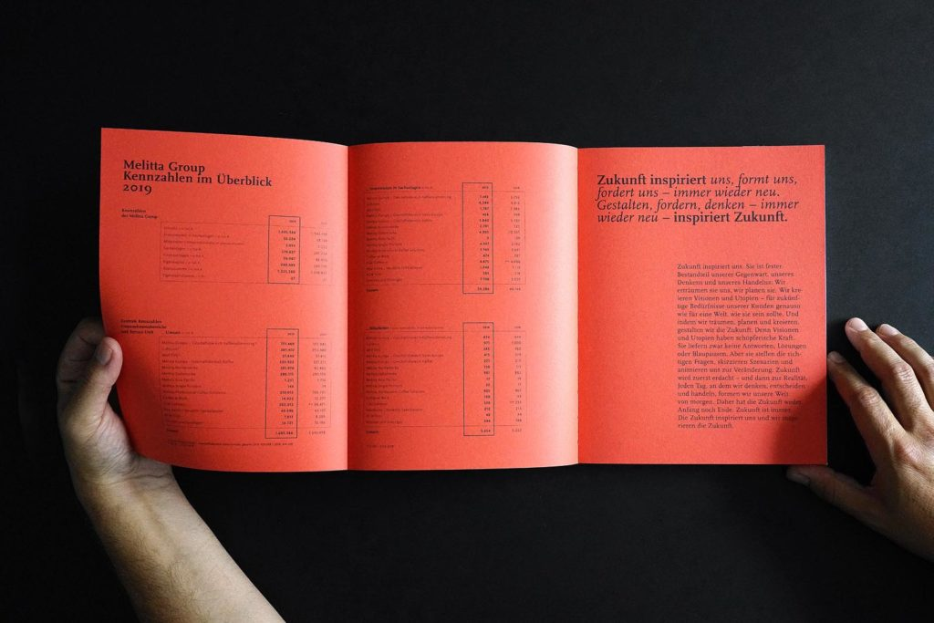 Melitta-Geschäftsbericht nachhaltige Produktion Studio Klee Steinberger